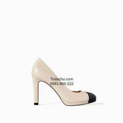 ?nh s? 94: Zara size 6  Giày pump màu kem pha đen  Cao trước sau , cao 10.8cm - Giá: 1.000