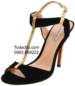 ?nh s? 100: harles David size 8  Sandals màu đen da thật pha da lộn  Có khóa cổ chân vừa với mọi loại cổ chân  Cao 10cm, giá gốc $194.95 - Giá: 1.800.000