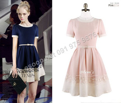 Ảnh số 92: B298: Pink, Navy/ 55, 66 - Váy liền xòe Hàn Quốc set Belt - Giá: 1.620.000