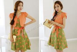 Ảnh số 84: B302: Orange, Navy/ 55, 66 - Váy liền xòe họa tiết Hàn Quốc bộ set - Giá: 2.790.000