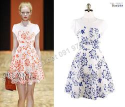 Ảnh số 81: B304: Orange, Blue/ 55, 66 - Váy liền xòe họa tiết Hàn Quốc - Giá: 1.600.000