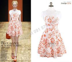 Ảnh số 80: B304: Orange, Blue/ 55, 66 - Váy liền xòe họa tiết Hàn Quốc - Giá: 1.600.000