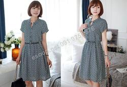 Ảnh số 51: B323: Navy/ 55, 66, 77 - Váy liền xòe họa tiết Hàn Quốc set Belt - Giá: 1.700.000
