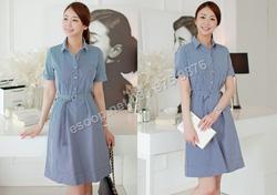 Ảnh số 50: B324: Navy/ 55, 66, 77 - Váy liền xòe Hàn Quốc set Belt - Giá: 1.950.000