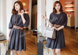 Ảnh số 45: B329: Charcoal/ F - Váy liền Hàn Quốc set Belt - Giá: 2.220.000