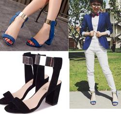 Ảnh số 73: Giày sandals đế vuông quai ngang ánh kim -250k - Giá: 250.000