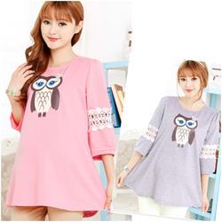 Ảnh số 2: Áo cotton bầu họa tiết cú mèo XD 0019 - Giá: 170.000