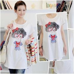Ảnh số 8: Áo cotton bầu dáng dài họa tiết cô gái XD0087 - Giá: 132.000