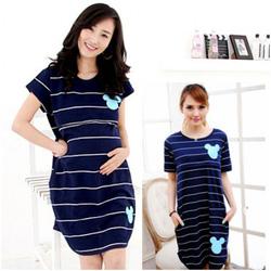 Ảnh số 16: Váy bầu kết hợp cho con bú kẻ ngang HC 651 - Giá: 215.000