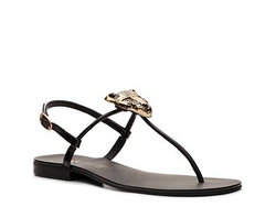 ?nh s? 7: ABS by Allen Schwartz size 6, 6.5  Sandals đế thấp màu đen, quai giày gắn biểu tượng con báo màu vàng  Quai cài cổ chân điều chỉnh rộng hẹp - Giá: 1.350.000