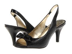 ?nh s? 51: AK Anne Klein size 6, 6.5  Sandals màu đen , da rắn , gắn nơ mũi giày  Quai chun sau , cao 8cm - Giá: 1.600.000