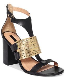 ?nh s? 55: Kensie size 5, 6, 6.5, 7  Sandals màu đen, quai cổ chân  Mu bàn chân trang trí logo họa tiết hình hoa màu vàng sang trọng  Gót cao 9cm - Giá: 1.500.000