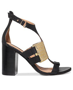 Ảnh số 56: Kensie size 5, 6, 6.5, 7  Sandals màu đen, quai cổ chân  Mu bàn chân trang trí logo họa tiết hình hoa màu vàng sang trọng  Gót cao 9cm - Giá: 1.500.000