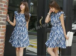 Ảnh số 39: B356: Khaki Brown, Blue/ F - Váy liền xòe họa tiết Hàn Quốc - Giá: 1.920.000