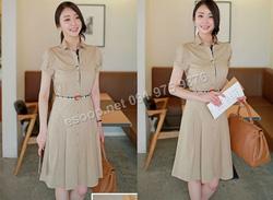 Ảnh số 36: B359: Beige, Navy/ 55, 66, 77 - Váy liền xòe Hàn Quốc set Belt - Giá: 2.290.000