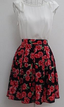 ?nh s? 40: Chân váy hoa 2 lớp 2 túi hông, vải lụa - Giá: 250.000