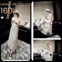 Ảnh số 75: Chân váy maxi pha lưới dáng lạ màu trắng - Giá: 160.000