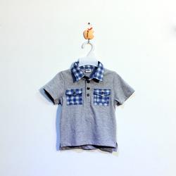 ?nh s? 86: Áo cotton bé trai phối cổ túi kẻ - Giá: 1.000