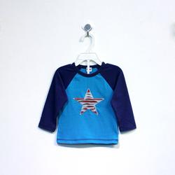 ?nh s? 88: Áo cotton bé trai hình sao xanh phối tay xanh đậm - Giá: 1.000