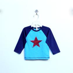 ?nh s? 89: Áo cotton bé trai hình sao xanh phối tay xanh nhạt - Giá: 1.000
