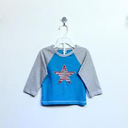 ?nh s? 90: Áo cotton bé trai hình sao xanh phối tay ghi - Giá: 1.000