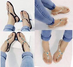 ?nh s? 2: Giày sandals bệt quai kẹp tam giác xanh - 190k - Giá: 190.000