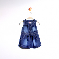 ?nh s? 12: Váy bò cổ tròn đai bụng màu xanh đậm - Giá: 1.000