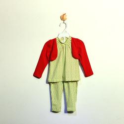 ?nh s? 53: Bộ cotton bé gái chấm bi xanh chuối - Giá: 1.000