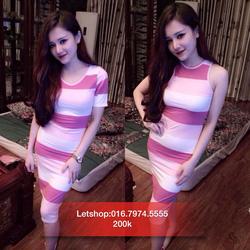 Ảnh số 36: Váy ôm 3 lỗ kẻ hồng - Giá: 200.000