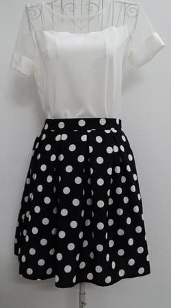 ?nh s? 54: Chân váy chấm bi xép li 2 lớp 2 túi hông - Giá: 250.000