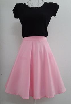 Ảnh số 60: Chân váy xòe hồng phấn 2 lớp 2 túi hông - Giá: 225.000