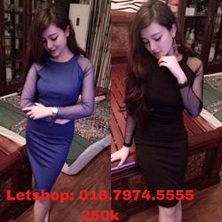 Ảnh số 8: Váy body tay pha lưới đen,xanh copan - Giá: 250.000
