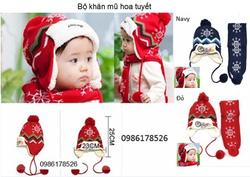 Ảnh số 40: Bộ khăn mũ len hình hoa tuyết, freesize từ 1,5-3t - Giá: 145.000