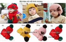 Ảnh số 41: Bộ khăn mũ nồi hình mickey, freesize từ 2 tuổi trở lên, các bé lớn cũng vừa - Giá: 120.000