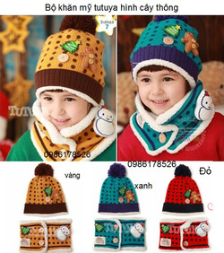 Ảnh số 50: Bộ khăn mũ len hình cây thông, freesize từ 1 đến 3t - Giá: 100.000