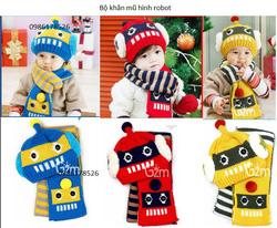 Ảnh số 53: Bộ khăn mũ len hình robot, freesize từ 6th-18th - Giá: 120.000