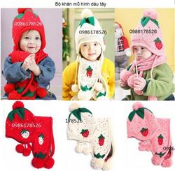 Ảnh số 54: Bộ khăn mũ hình dâu tây, freesize từ 1t-2t - Giá: 120.000