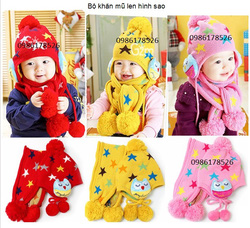 Ảnh số 55: Bộ khăn mũ hình sao, freesize từ 1t-3t - Giá: 120.000