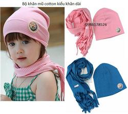 Ảnh số 21: Bộ khăn mũ cotton dầy, khăn dài, freesize 1t-3t - Giá: 100.000