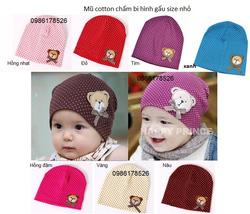 Ảnh số 16: Mũ cotton chấm bi hình gấu, fresize từ 3th-10th - Giá: 40.000