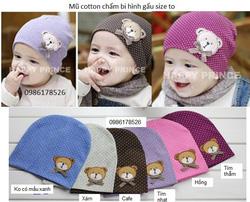 Ảnh số 17: Mũ cotton chấm bi hình gấu, freesize từ 10th-24th - Giá: 45.000