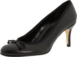 Ảnh số 82: Giày Vigotti size 6, 7  Giày pump màu đen da thật viền thô, mũi giày gắn nơ nữ tính   Cao 7.5cm - Giá: 1.800.000