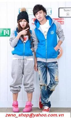Ảnh số 72: áo khoác nỉ đôi ghi - xanh dương - Giá: 470.000