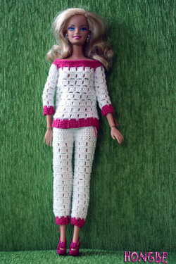 Ảnh số 11: M07 - Bộ quần áo dài trắng pha hồng - Giá: 100.000