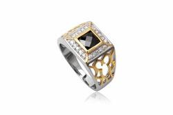 Ảnh số 1: TrangsucLUNA Nhẫn nam đính kim cương nhân tạo xi phủ vàng trắng vàng tây 18k - Giá: 1.060.000
