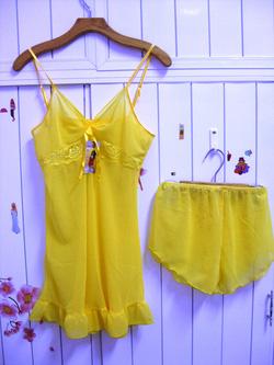 Ảnh số 10: bộ đầm voan mỏng màu vàng (rất tươi ) - Giá: 55.000