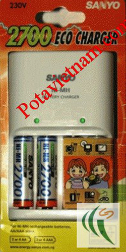 Ảnh số 19: Bộ, máy điện sạc pin thông dụng, máy ảnh và máy quay, sạc pin Sanyo MQN04ESP27-S, 04 khay sạc pin, kèm 02 viên pin sạc AA - Giá: 330.000