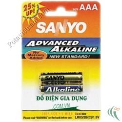 Ảnh số 52: Pin đũa AAA, Pin Kiềm Alkaline, Pin thông dụng, Pin 1.5V, Pin SANYO LR03/2BP (1 Vỉ/ 2 Viên pin) - Giá: 20.000