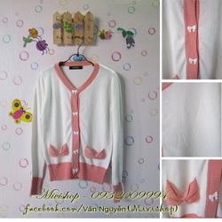 Ảnh số 76: Áo khoác len nơ ( trắng pha hồng ) - Giá: 200.000