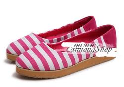 Ảnh số 14: Giày búp bê bánh mì sọc ngang - Giá: 200.000